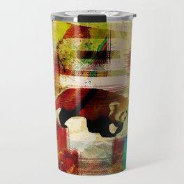 Red Panda Abstract  mixed media art collage Travel Mug