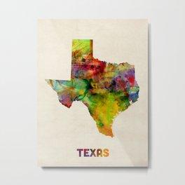 Texas Watercolor Map Metal Print