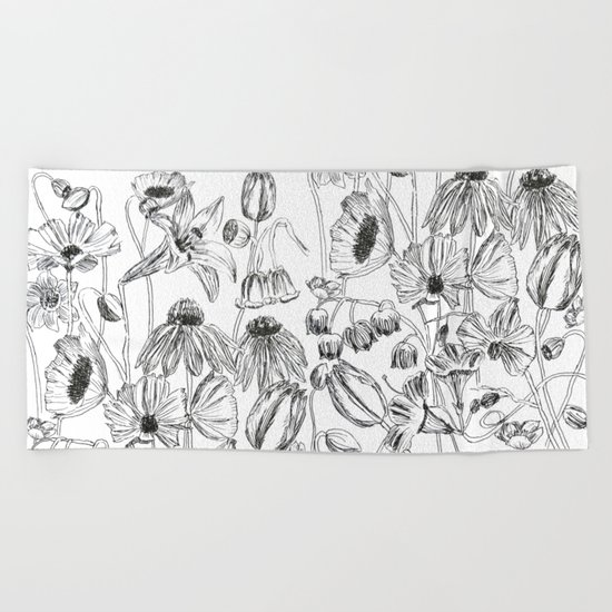 flower party black and white Beach Towel