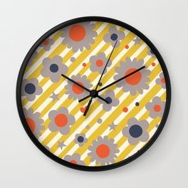 Punk Flower in Primary Wall Clock