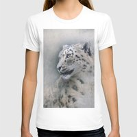 snow leopard T-shirts featuring Snow Leopard profile by Pauline Fowler ( Polly470 )