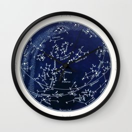 French July Star Maps in Deep Navy & Black, Astronomy, Constellation, Celestial Wall Clock