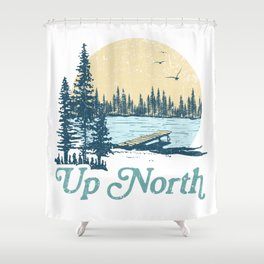 Vintage Up North Lake Shower Curtain