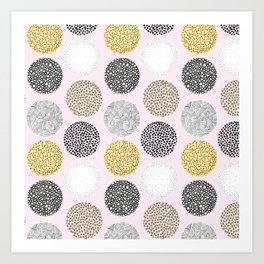 Yellow, White, Gray, Pink and Black Circle Print Art Print