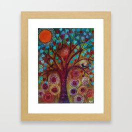 Birds in a Heart Tree Framed Art Print