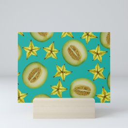 Starfruit Honey Melon pattern Design turquoise Mini Art Print
