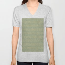 Earthy Green on Sweet Pea Green Parable to 2020 Color of the Year Back to Nature Bold Grunge Dashes Unisex V-Neck