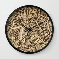 tribal Wall Clocks featuring Tribal  by Terry Fan