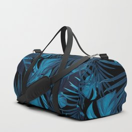 Tropical Jungle Night Leaves Pattern #2 #tropical #decor #art #society6 Duffle Bag