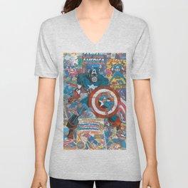 The American Superhero - Comic Art Unisex V-Neck