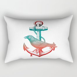 Crow sits On The Anchor Rectangular Pillow