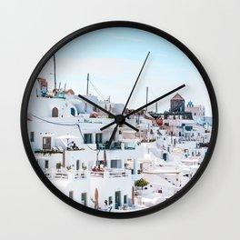 Santorini Greece Ligh Blue Sky Wall Clock