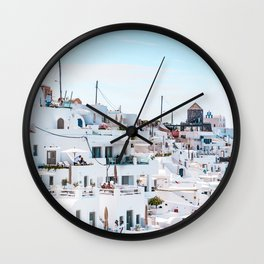 Santorini Greece Ligh Blue Sky Wall Clock