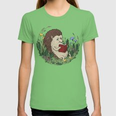 Hedgehog Reading A Book Womens Fitted Tee LARGE Grass