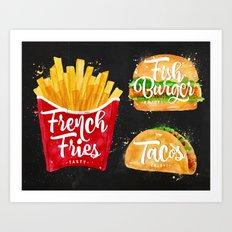 Black French Fries Art Print