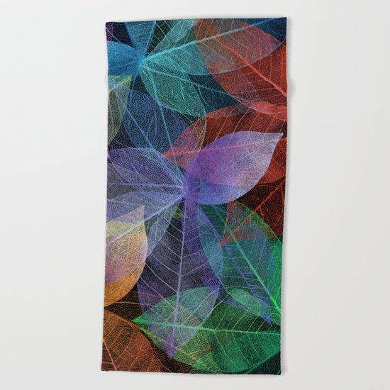 Colored Leaf Pattern 2 Beach Towel