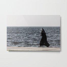 Young muslim girl walking at seaside Metal Print