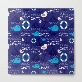 Summer boat blue Metal Print