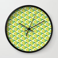 green pattern Wall Clocks featuring pattern green by colli1.3designs