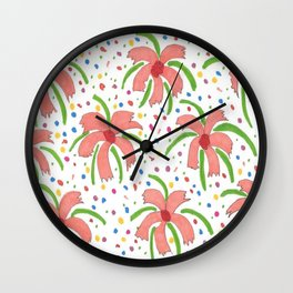 Tropical Fiesta Flowers Wall Clock