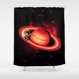 SATURN SKATING Shower Curtain