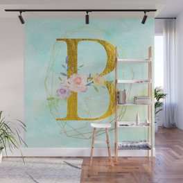 Gold Foil Alphabet Letter B Initials Monogram Frame with a Gold Geometric Wreath Wall Mural