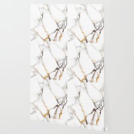 White gray and rose-gold faux marble Wallpaper