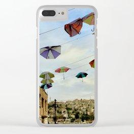 Umbrellas over Amman~ Jordanian joyful sight Clear iPhone Case