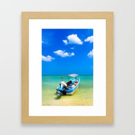 Little Blue Boat On The Gulf Of Mexico Framed Art Print