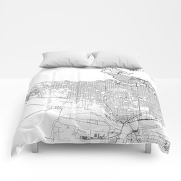 Vancouver White Map Comforters