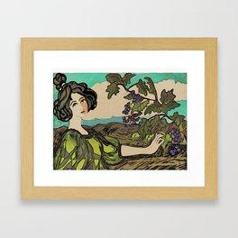 Lady In Vineyard Framed Art Print
