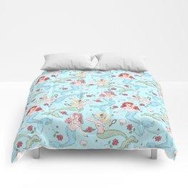 Mermaids and Roses on Aqua Comforters