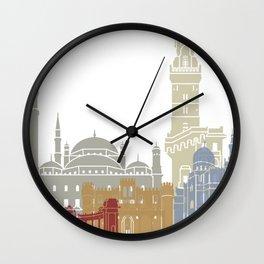 Alexandria skyline poster Wall Clock