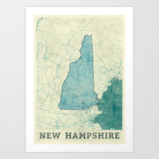 New Hampshire State Map Blue Vintage Art Print
