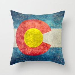 Colorado State Flag in Vintage Grunge Throw Pillow