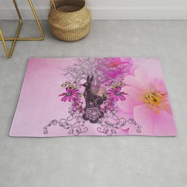 Funny easter bunny with flowers Rug
