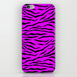 Hot Pink Neon and Black Tiger Stripes iPhone Skin