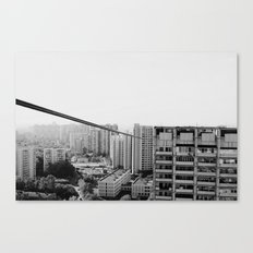 urban houses with wires Canvas Print