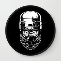 robocop Wall Clocks featuring Hey, Robocop! by OneAppleInBox