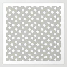 Brushy Dots - Gray Art Print