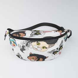 Pop Cats - Pattern on White Fanny Pack