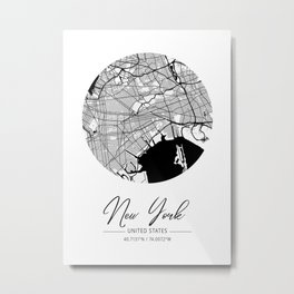 New York Area City Map, New York Circle City Maps Print, New York Black Water City Maps Metal Print