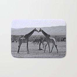 Giraffe talk Bath Mat