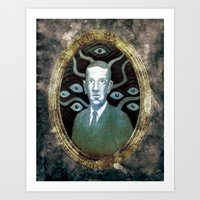 lovecraft Art Prints featuring H.P Lovecraft by ART BY WEST