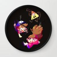 gravity falls Wall Clocks featuring Gravity Falls by ChocoChaoFun