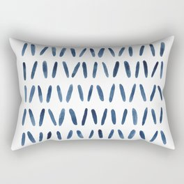 Strokes Pattern | Indigo Watercolor Painting Rectangular Pillow
