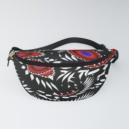 Flower Frenzy in Red and Blue Fanny Pack