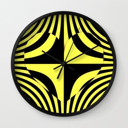 Abstract geometric bold aboriginal concentric zebra design pattern of lines with center heart shape Wall Clock