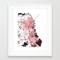 san francisco map Framed Art Prints featuring San Francisco Noise Map by ARTITECTURE