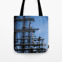 ships Tote Bags featuring Tall ships by Stu Naranch